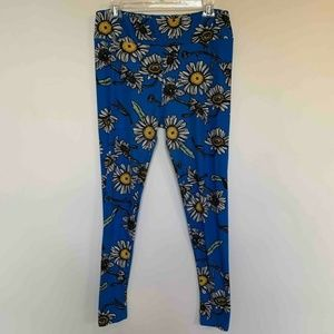 LuLaRoe Womens Leggings Blue White Sunflower Tall